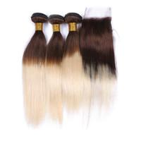 인기 Silky Straight 옹 브르 4 613 헤어 레이스 클로저 4pcs 많은 갈색과 금발 3 번들 레이스 클로저 4x4와 확장