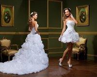 섹시한 Vestido 드 Noiva 화이트 볼 가운 웨딩 드레스 끈이없는 연인 픽업 이동식 스커트 아랍어 미니 짧은 신부 가운 DH4005