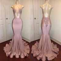 Vestido de la chispa de las lentejuelas Blush Pink Prom-moldeado atractivo abierto sin respaldo partido de la sirena vestidos largos Moda Dubai Saudita vestidos de noche Vestidos