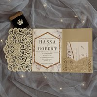 Wholesale laser cut wedding invitations buy cheap laser cut modern gold laser cut pocket wedding invitation suite customizable invites with envelope free shipped by ups stopboris Gallery