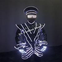 LZ41 светодиодные перчатки бальный танец LED hat головной убор светящиеся очки робот костюм светящиеся ткани этап DJ танцор носит party bar dress производительность