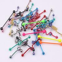 Body Piercing Großhandels50pcs Mix Artmischungsfarbe Edelstahl-Zunge-Bar Tragus Punkohrring Piercing Bar Industrie Barbell