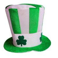 1pc Costume Cappello fascia verde paillettes irlandese St. Patrick's Day High Clover Striped Novità Green Hat Party # 20