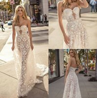 Muse by Berta 2019 Mermaid Abiti da sposa abiti da noiva Sweetheart Backless Lace Abiti da sposa Beach Abito da sposa Custom Made