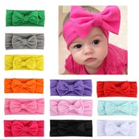 New Baby Solid Cotton Hair Bow Headband Toddier Handmade Str...