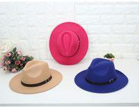 ورأى 2018 الأزياء الرجعية قبعة الجاز قبعة القبعات للرجال النساء أنيقة الصلبة شعرت فيدورا قبعة الفرقة واسعة بريم الجاز القبعات قبعات بنما