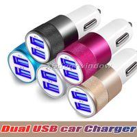 Billaddare Metal Travel Adapter 2 Portar Färgrik Micro USB-bilkontakt USB-adapter för Samsung Note 8 iPhone 7 OPP-paket