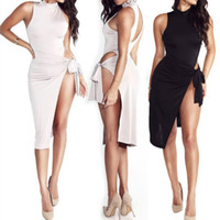 Frauen-Backless-grundlegende Kleider Sleeveless dünnes Vestidos Weste-Behälter-bodycon Kleid-Bügel-reizvolles Partei-Kleid Sundress O-Ansatz-Schwarz-unregelmäßiges Kleid