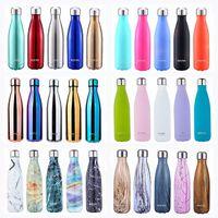 16 أوقية 30 نمط انبهار اللون فراغ معزول زجاجة الكولا الفولاذ المقاوم للصدأ زجاجة المياه للتخصيص في الهواء الطلق الكولا على شكل زجاجة ماء