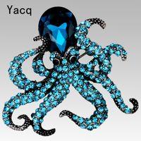 YACQ Octopus Brosche Pin Antik Gold Silber Farbe Kristall Tier Bling Frauen Schmuck Geschenke ihrer Frau Großhandel BA16