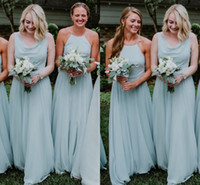 Various Neck Chiffon Country Bridesmaid Dresses Light Blue 2...