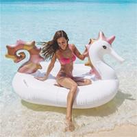 Hipokampi Tasarım Büyük Şişme Tüpler Boynuzlu At Yüzme Halka Deniz Güneş Banyosu Pegasus Havuzu Yüzen Mat Havuzu Dekor Için Yüksek kalite 89xh Z