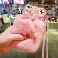 Per iPhone 7 Custodia 3D Cute Rabbit peloso caldo pelliccia Bling strass peluche perla Custodia per iPhone X XS MAX XR 5 5C 6 7 8 Plus