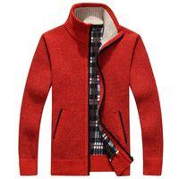 Hommes Cardigans Automne hiver chaud en laine et cachemire Zipper Cardigan coton Casual Maille Taille Plus RED beige Beau Mandarin Collar