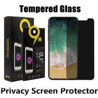 개인 정보 보호 유리 스크린 프로텍터 아이폰 (12) (11) (11) 프로 X 8 7 6 기가 플러스 눈부심 방지 강화 유리와 소매 패키지