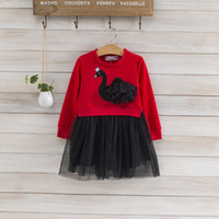 Girls Clothes Autumn Girl Swan Sweater Lace Skirt Set Girl L...