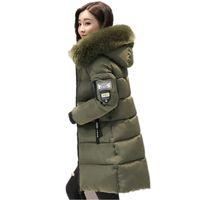 Piel cálida moda con capucha abrigo acolchado chaqueta de invierno mujer 2017 color sólido cremallera abajo Coon Parka más tamaño 3XL Outwear C3748