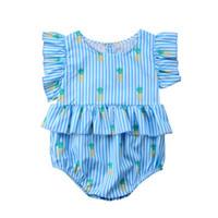 Bebé recién nacido niña de la piña de impresión mamelucos manga de manga azul mono a rayas trajes ropa lindo verano informal