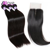 Allove 8A Brazilian Straight Hair 3 Bundles with Closure Per...