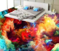 pvc self adhesive wallpaper 3d floor Coloring nostalgia vinyl flooring photo wall mural for living room 3d floor mural