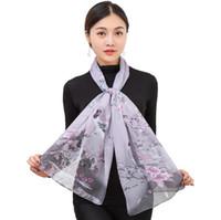 Nueva bufanda de seda de las señoras largas y delgadas chiffon chal impresión de la moda bufandas