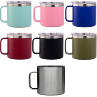 14oz Coffee Mugs Kid Milk Cup Stainless Steel Cup With Lid D...