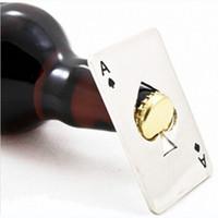 포커 카드 맥주 병 오프너 스페이드 바 도구 개인화 된 재미 있은 스테인레스 스틸 신용 카드 병 뚜껑 카드