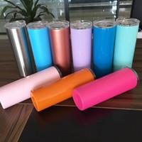 جديد 20 أوقية الفولاذ المقاوم للصدأ نحيل بهلوان مع غطاء وسترو مزدوج الجدار فراغ معزول أكواب القهوة مستقيم