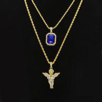 Set di gioielli da uomo Hip Hop Mini Square Rubino Zaffiro Diamante pieno di cristallo Angelo ali ciondolo Collane a catena in oro Per gioielli maschili Hiphop