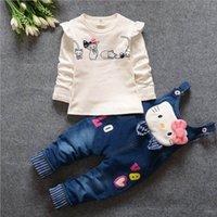 2018 spring autumn baby girl clothing sets Cartoon cat tops+...