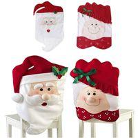 Mr et Mme Santa Claus Housse de chaise de noël Dîner Dîner Chaise de table Couverture de décoration