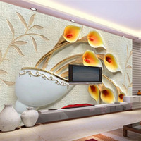 Custom Wall Painting Wallpaper Non- woven 3D Embossed Flower ...