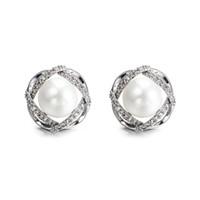 Orecchini per borchie di moda fiore per le donne regali eleganti zirconi argento orecchino da donna perla gioielli romantici dropshiping
