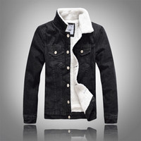 Men Denim Jacket Fur Collar Cashmere Coat Outdoor Outwear Ov...