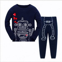 Kids Pajamas Set Children Autumn Cotton Sleepwear Boys Robot...