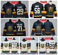 2018 Jugend Vegas Goldene Knights 29 Marc-Andre Fleury 71 William Karlsson 56 Erik Haul Hockey Jersey Kinder genäht Hemden
