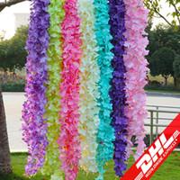 Flores artificiales Decoraciones de la boda Flores de seda Simulación de bodas Flor de orquídea de mar Cadena de hortensias 1M Cuerdas para colgar en la pared
