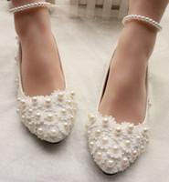Scarpe eleganti piatte di perle di pizzo stile più recente scarpe moda principessa scarpe da sposa da sposa da sera shuoshuo6588