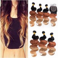 El cabello humano peruano de tres tonos Ombre se teje con cierre Body Wave 1B / 33/27 Honey Blonde Ombre Cierre de encaje 4x4 con paquetes
