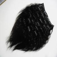 Grosso Yaki Clipe Ins 10 Peças E 120g / Set Natural Cor Kinky Em Linha Reta Grampo Em Extensões Do Cabelo Humano