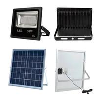 4 canales RGB 50W Solar LED Reflector 18W Panel solar Control remoto impermeable al aire libre Jardín Lámpara de luz de inundación