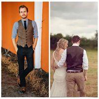2021 Formal Custom Brown Tweed Chaleco de lana Herringbone Groom Chalecos Estilo británico Traje para hombre Chalecos Slim Fit Mens Vestido Vest Campaña Casual Chaleco