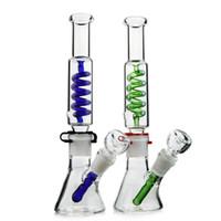 Tube droit Freezable Beaker verre Bong Pipes eau Construire un Bong Dab Oil Rig 14mm Bowl narguilés Pipes Vert Bleu barboteur ILL04-05