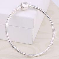 Fabrik Großhandel 925 Sterling Silber Armbänder 3mm Schlangenkette Fit Pandora Charms Bead Armreif Schmuck machen Geschenk für Männer Frauen