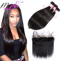 Straight 9A Mongolian Virgin Hair Weaves Extensions With 13x...