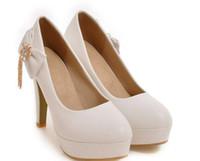 Free send Hot 2018 new style four seasons High heel bowknot round head Fine heel women shoes