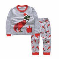 Bebé niño navidad dinosaurio pijamas ropa conjunto niños algodón dibujos animados traje de manga larga camiseta + pantalones 2pcs se adaptan ropa para niños