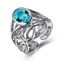 Nouveau Big anneau ovale en cristal bleu Fashion Anti silver plaque bijoux bague bague aneis anel femmes doigt bague tendance bijoux