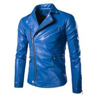 Mode Hommes Vestes en cuir Bleu / Noir Cintrées bouffante Vestes Manteaux Designer Vestes Punk Biker pour hommes Printemps