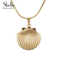 Shefly старинные античная латунь русалки море Shell медальон ожерелье морской ракушки медальон кулон ювелирные изделия подарок на День Рождения XL0550